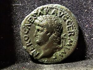 Nero (54-68 AD), AE As, Victory Flying with Shield, MAW70