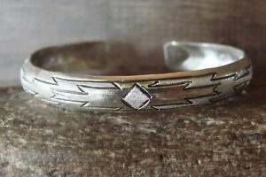 Navajo Indian Jewelry Sterling Silver Etched Bracelet by Tahe!