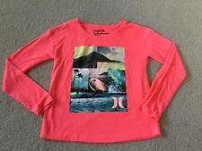 NWOT!  HURLEY Girls Medium 10-12 Long Sleeve Shirt Hot Pink  Beach Soft Trendy