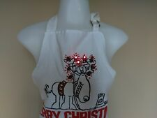 Christmas Light Up Apron Electronic Battery Operated Humor Funny Reindeer Adult
