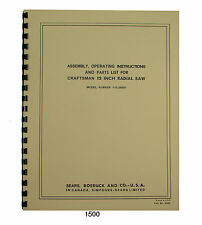 Sears Craftsman 113.29501 12 Inch Radial Arm Saw Op & Parts Manual #1500