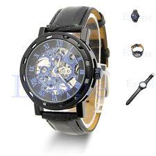 Para Hombre Clásico Negro Esqueleto Dial mecánico del ejército Reloj - 12 Meses De Garantía