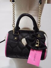 Betsey Johnson Mini Barrel Handbag Purse Bag Crossbody Be Mine Black Fuschia