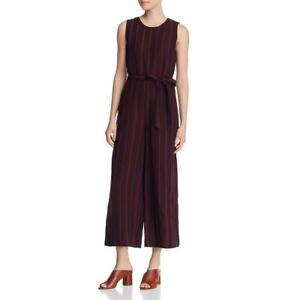 Eileen Fisher Womens Purple Organic Linen Striped Jumpsuit Petites PM  3888