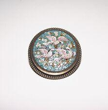 ITALIAN micromosaico/MICRO MOSAICO Spilla in argento raffigurante 3 colombe