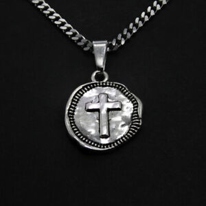 STAINLESS STEEL NECKLACE - ANCIENT CROSS NECKLACE - RELIGION FAITH CHRISTIAN