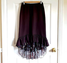 Ruffled Frilly Hem Skirt Floral Trim Brown Blue Size Uk 8 Steampunk Flippy Dance