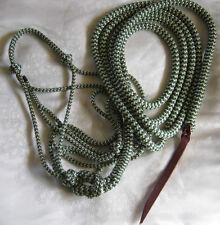 Standard Natural Horsemanship Halter & 12ft Lead Rope Loop Green/Beige ZigZag