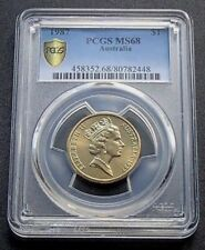 1987 Australian One $1 Dollar Coin Mob of Roos - PCGS Graded MS68 GEM