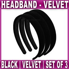 3x VELVET ALICE BAND 2cm wide headband head hair bands aliceband Womens Girls