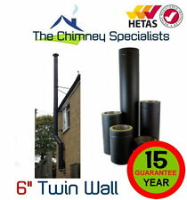 "Volcano Plus Black Twin Wall Insulated Flue Pipe Complete 6"" External System"