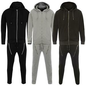 Mens Skinny Fit Tracksuit Hooded Jogging Joggers Hoodie Full Set Top Bottoms UK