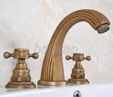 Antique Brass Bathroom Basin Faucet Widespread Vanity Sink Mixer Tap san068