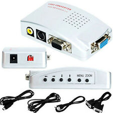 US VGA to TV RCA Composite S-Video Converter Splitter Box for PC Laptop DesktopM