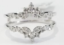 10k White Gold Round Diamonds Solitaire Enhancer Wedding Ring Guard Wrap 0.31 ct