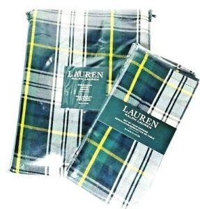 "Ralph Lauren Tablecloth 4 Napkins Middlebrook Plaid Tartan Green Round 70"""
