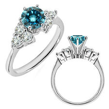 1 Carat Blue Diamond 14K White Gold Fancy Solitaire Engagement Promise Ring