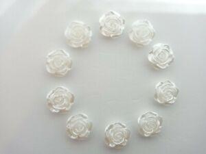 10 X 10mm Resin pearl Roses Flatback Embellishments Craft Card Making Jewellery