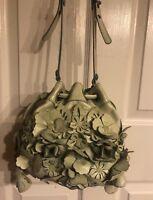 Lockheart Genuine Leather embroidered flowered Straw Bucket Shoulder Bag