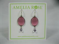 Amelia Rose pink purple Drop Earrings Cabo Shimmer Gemdrop silver tone