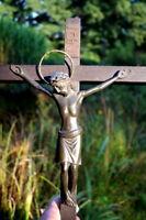 altes Kreuz Kruzifix Massivholz Metall Jesus Christus Sammlerstück