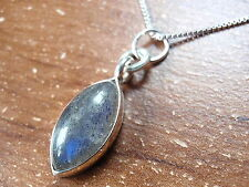 Labradorite Marquise Cabochon Pendant 925 Sterling Silver New 697t