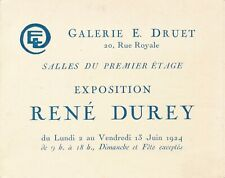 René DUREY carte exposition 1924 galerie Druet liste oeuvres