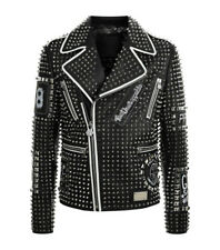 New Handmade Black Full cloutées Embroidery Patchs leather jacket