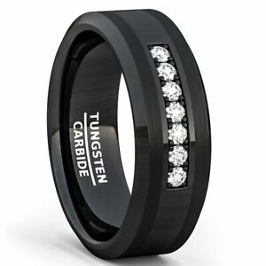 Tungsten Carbide Ring 8mm 7 Cubic Zircon Trillion Mens Wedding Comfort Fit