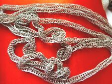 """VINTAGE STERLING SILVER  """" GUATEMALAN  WEDDING CHAIN""""  NECKLACE  70"""" LONG."""