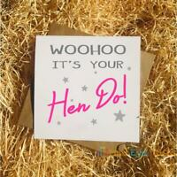 Woohoo It's Your Hen Do - Funny Hen Party Greetings Card Bride Engagement