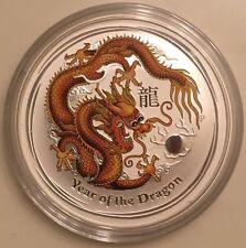 2012 1 oz Silver Australian Gold Orange Dragon Lunar Coin Direct From Mint Roll
