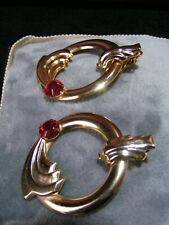 Gold Tone Red Rhine Stone Hooped Earrings Vintage 1940s 50s 60s Art Deco Ornate