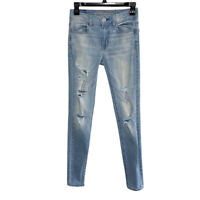 American Eagle Women Sz 0 Denim Hi-Rise Jegging Jeans Destroyed AEO Stretch