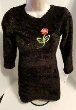 Kash Ten Girl's Boutique Black Velvet Fuzzy A-line Chrstmas Flower Dress 7/8 New