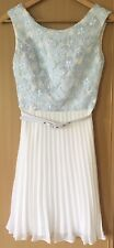 REVIEW white pleated dress pale blue lace belt XS 6 0