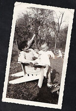 Old Vintage Antique Photograph Baby Sitting on Mom's Lap in Yard