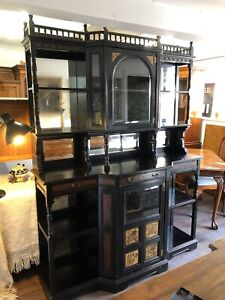 Aesthetic Movement Ebonised & Painted Cabinet