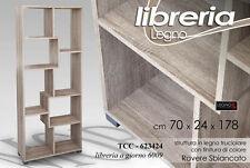 Libreria Legno RIVEST Rovere Cm 70x24x178h Arredo MODERNO 8 Scomparti TCC 623424