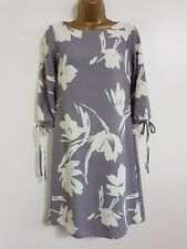 NEW Ex DP Size 6-22 Tie Sleeve Floral Print Grey Beige White Crepe Shift Dress