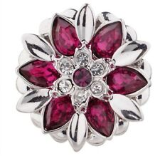 Silver Pink Rhinestone Flower 20mm Snap Charm For Ginger Snaps Magnolia Vine