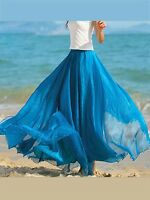 Ladies Double Layer Chiffon Pleated Retro Long Maxi Dress Elastic Waist Skirt