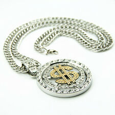 Gold plated Dollar Pendant Chain Hip Hop Bling siverly Rhine Stone Necklace  AAA