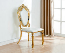 Set of 2/4/6 White Faux Leather Gold Chrome Legs Dining Chairs