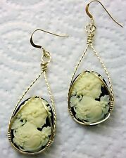 Grecian Goddess with Grapes Cameo 14k Rolled Gold Earrings