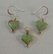 .925 STERLING SILVER ROYSTON TURQUOISE INLAY HEART EARRING PENDANT SET