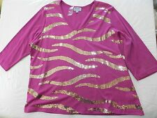 WOMENS cherry pink SHIRT BLOUSE TOP = GLITTERSCAPE = SIZE 2X = NEW - ss17