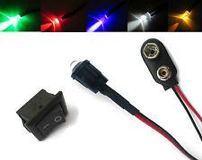 Modelleisenbahn Blinkende Weiß, Rot, Blau,Grün,Bernstein LED 5mm+Switch+PP3