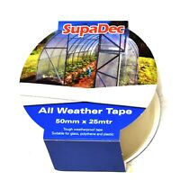 ALL WEATHER TAPE - 50mm x 25m - CLEAR REPAIR ADHESIVE WINDOW GREENHOUSE GLASS