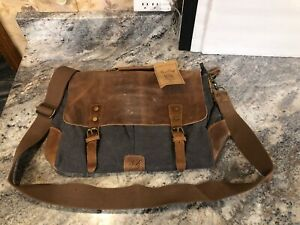 """NiceEbag Rustic Leather And Canvas 15.6"""" Laptop Messenger Shoulder Bag"""